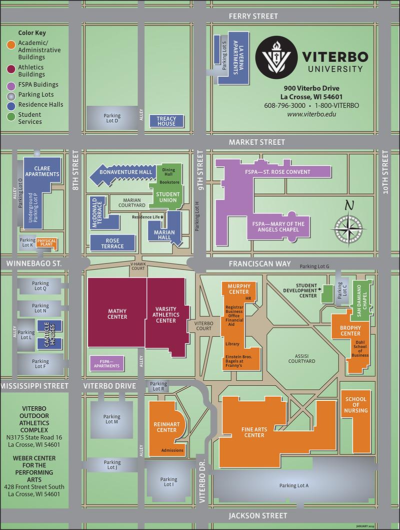 washburn university campus map Campus Map Viterbo University washburn university campus map