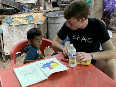 Ben Gibson and the other Viterbo students got a chance to know some Mexican families during their service immersion trip.