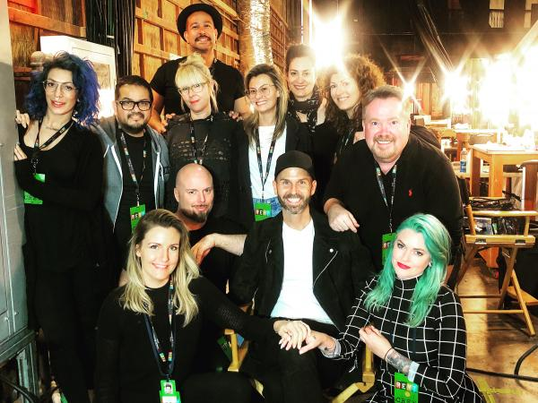 "Barry Lee Moe is pictured with the crew he headed up for the production of ""RENT: Live."" He was nominated for a Make-Up Artists and Hair Stylists Guild award for his work on the show."