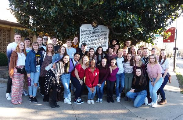 Platinum Edition Studio B_0.jpgMembers of Viterbo University's Platinum Edition are pictured during a recent trip to Nashville outside RCA Studio B. The choir was there last weekend to host and perform at a national show choir competition.